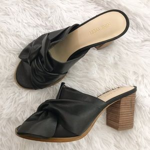Nine West Byron Top Knotted Bow Leather Mules